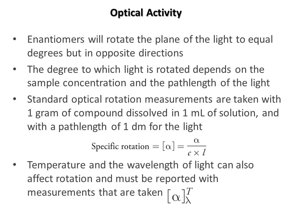 relationship between optical rotation and pathlength