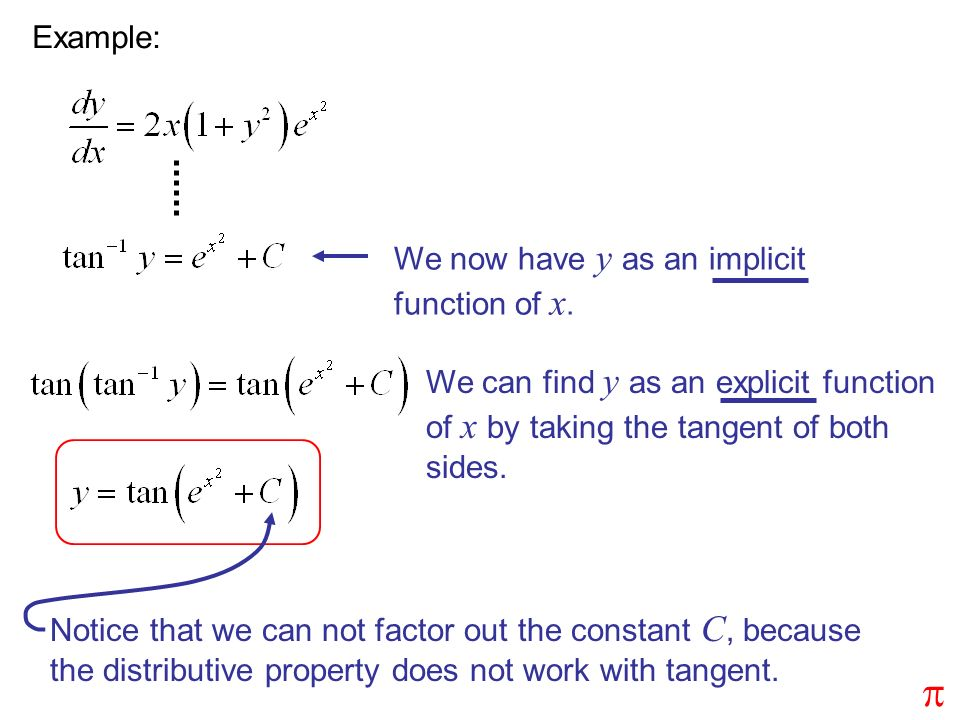 p Example: We now have y as an implicit function of x.