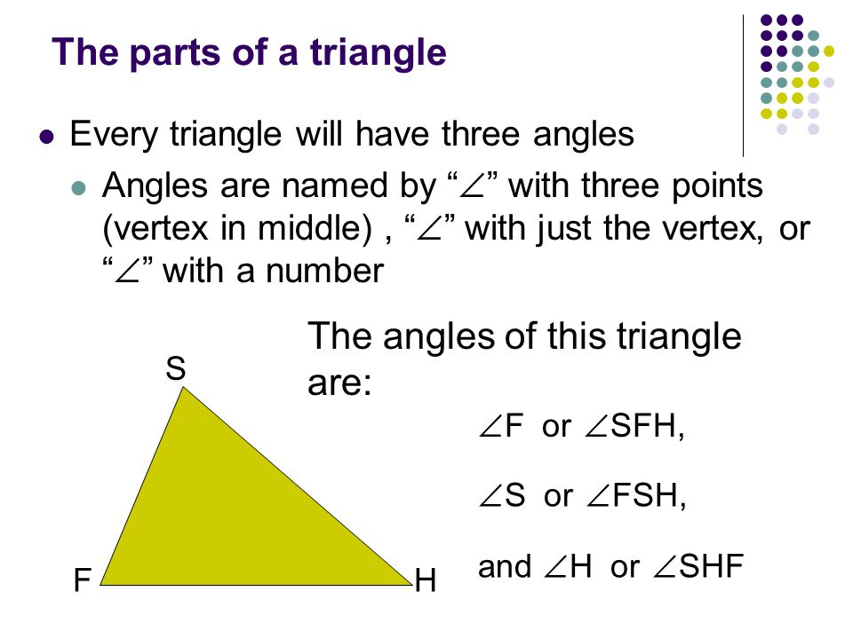 The angles of this triangle are: