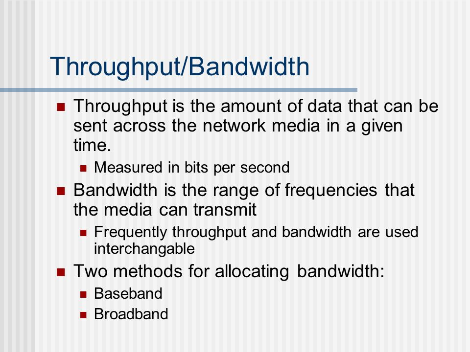 Throughput/Bandwidth