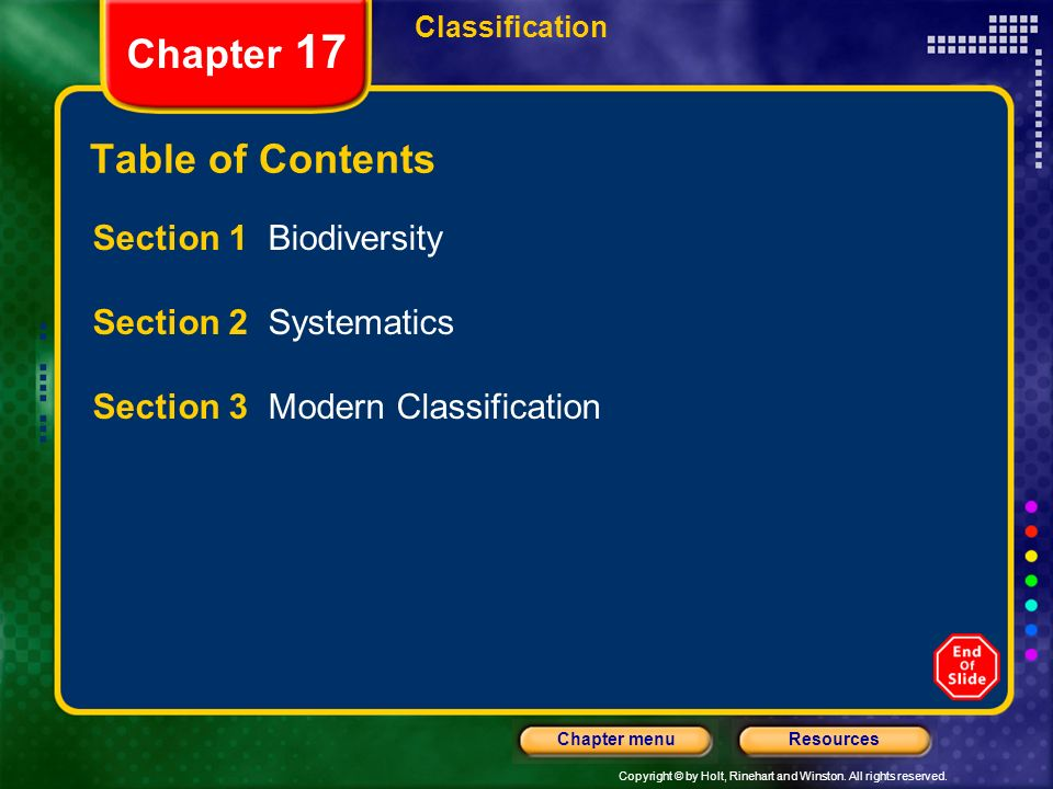 Chapter 17 Table of Contents Section 1 Biodiversity