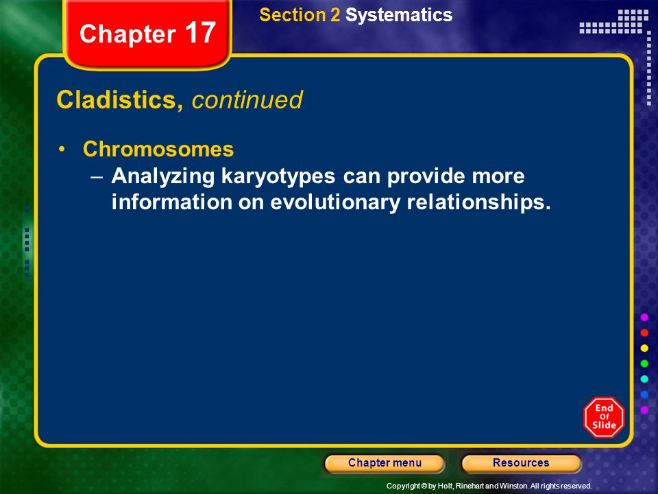 Chapter 17 Cladistics, continued Chromosomes