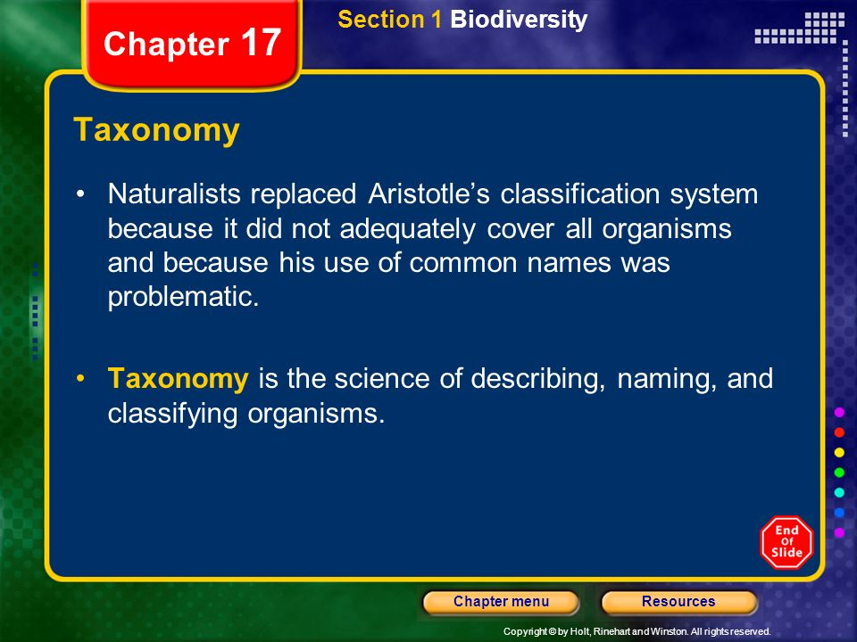 Section 1 Biodiversity Chapter 17. Taxonomy.