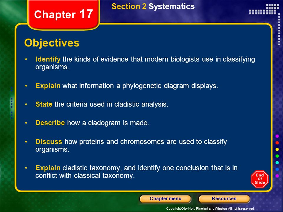 Chapter 17 Objectives Section 2 Systematics