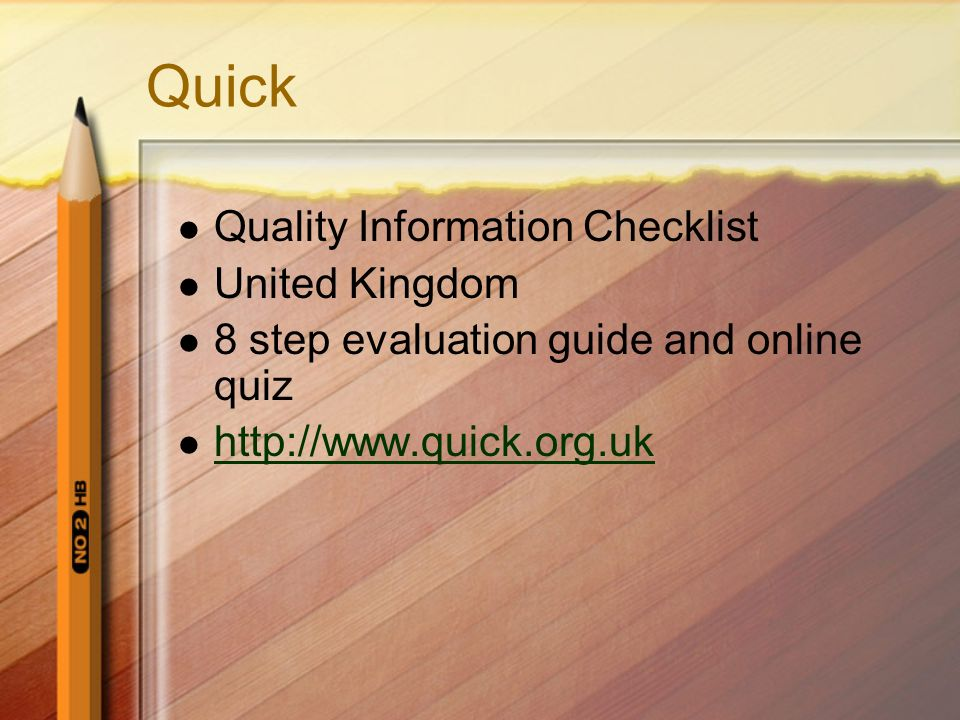 Quick Quality Information Checklist United Kingdom
