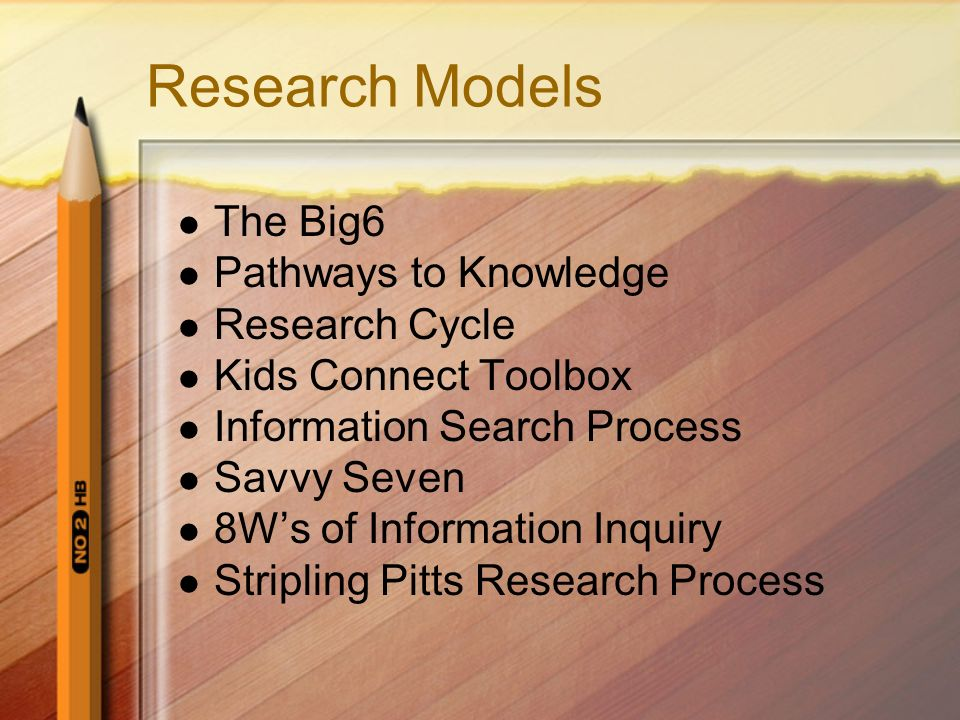Research Models The Big6 Pathways to Knowledge Research Cycle