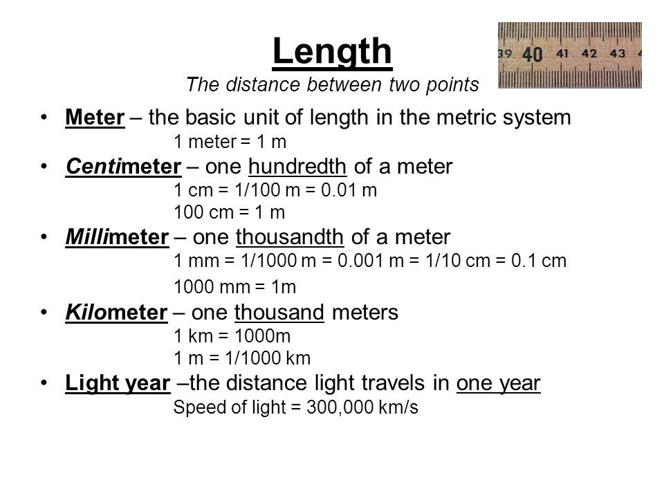 Length The distance between two points