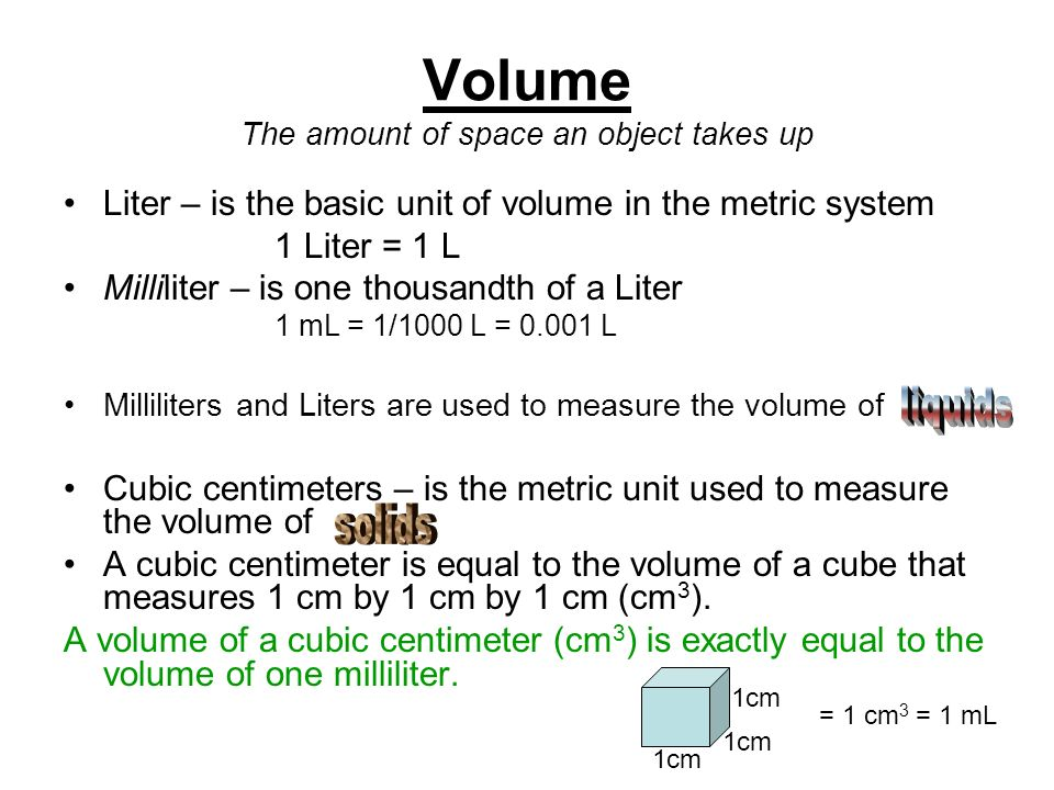 Volume The amount of space an object takes up