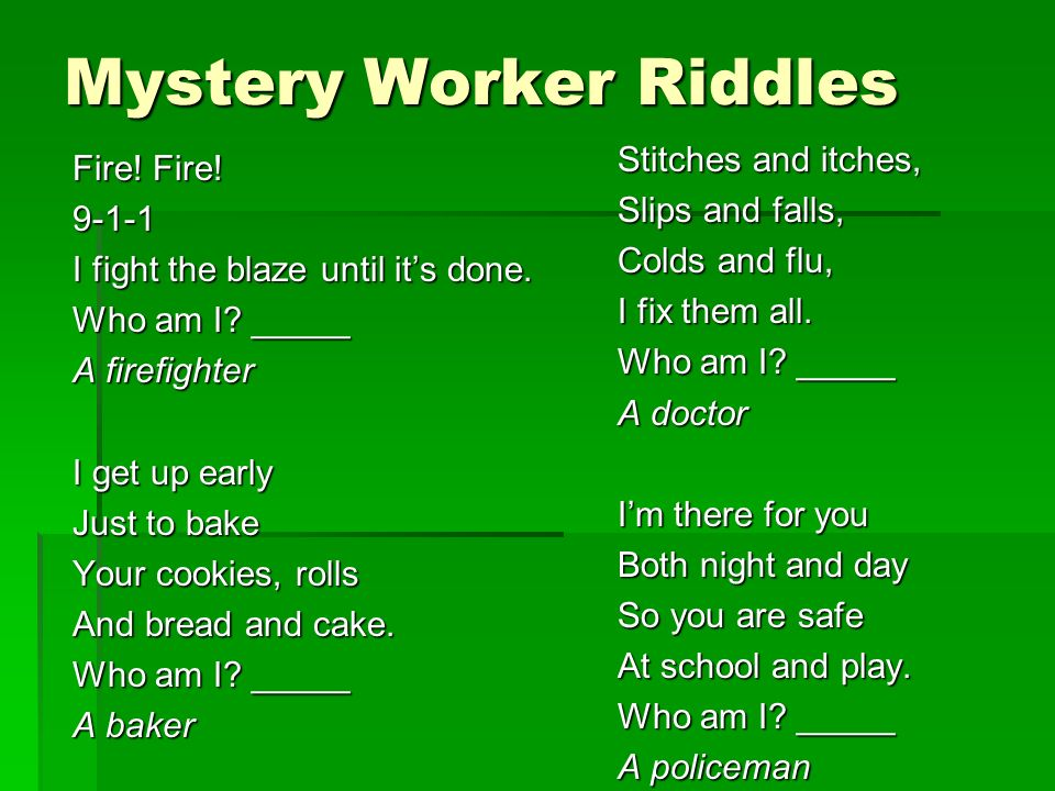 Mystery Worker Riddles