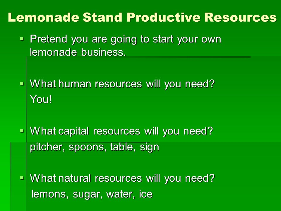 Lemonade Stand Productive Resources