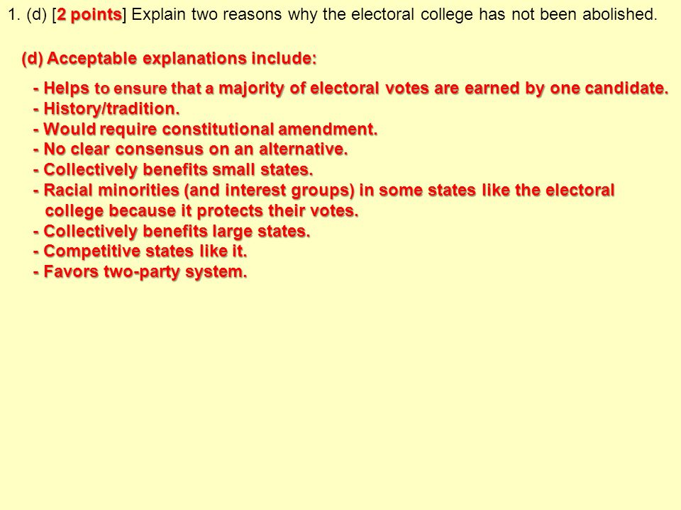 why has the electoral college not been abolished