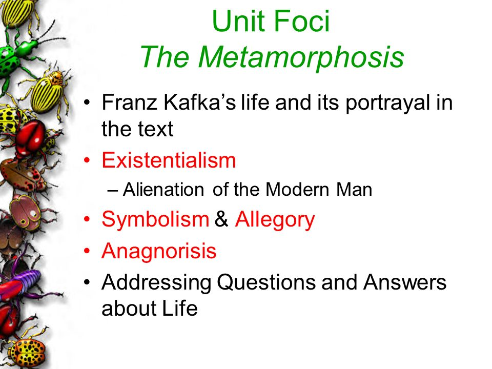 alienation metamorphosis thesis Exploring alienation and conformity in the metamorphosis in the metamorphosis, franz kafka conveys the series of emotional and psychological repercussions of a physical transformation that befalls the protagonist, a young salesman called gregor samsa.