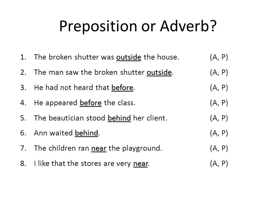 Adverbs Pronouns And Prepositions