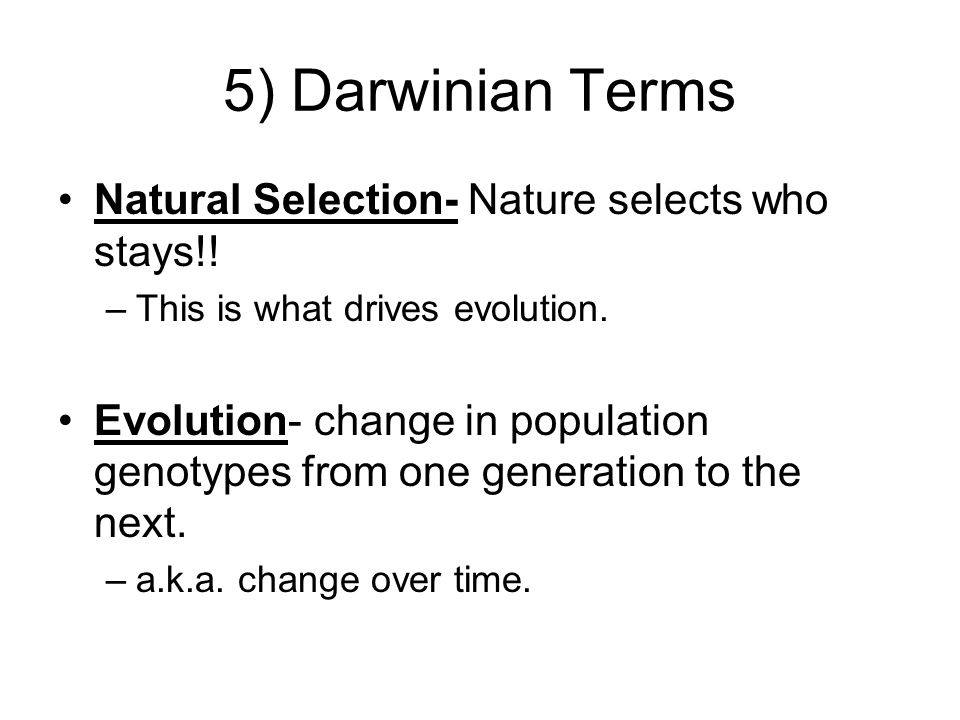 5) Darwinian Terms Natural Selection- Nature selects who stays!!