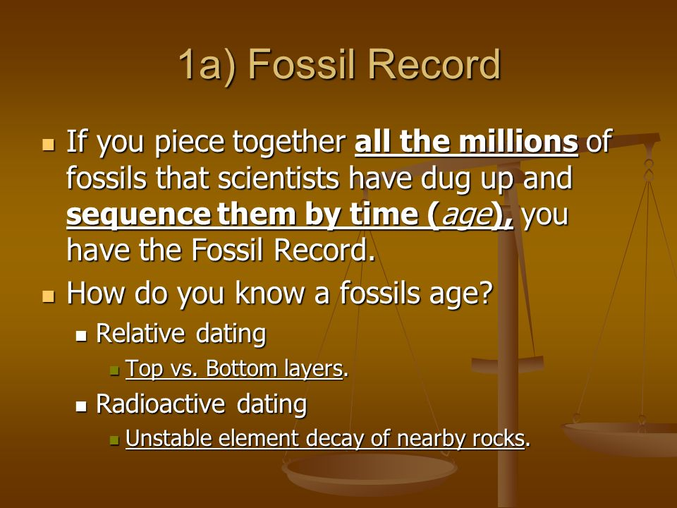1a) Fossil Record