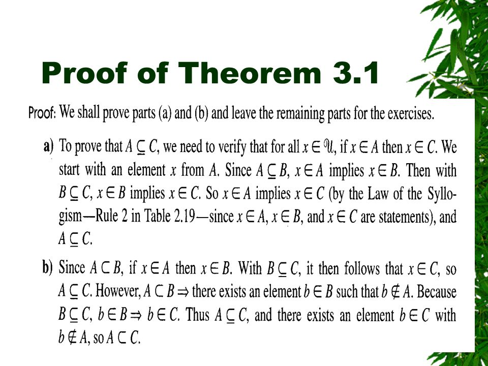 Proof of Theorem 3.1