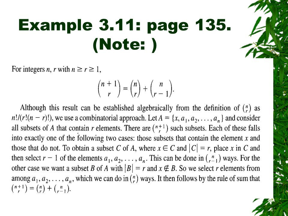 Example 3.11: page 135. (Note: )