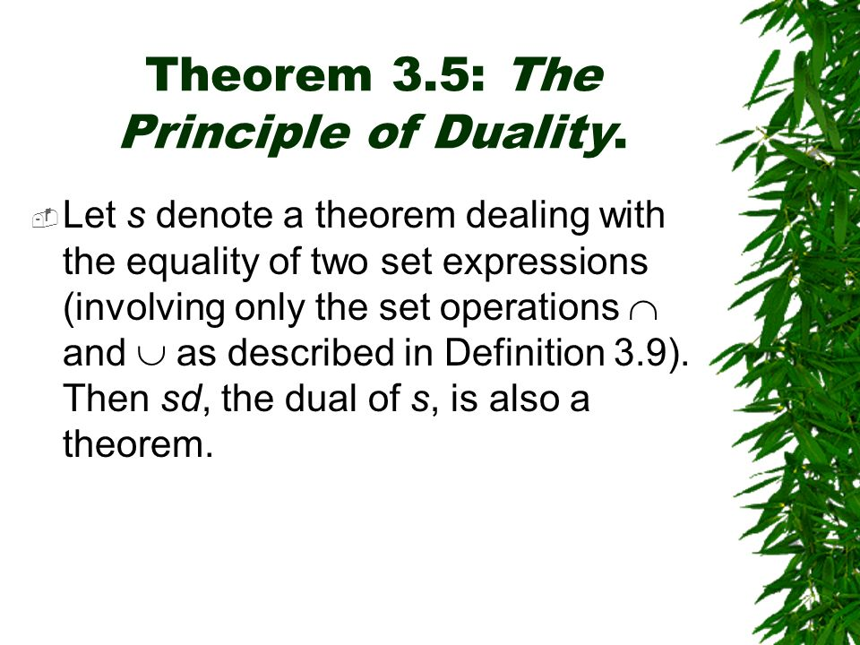 Theorem 3.5: The Principle of Duality.