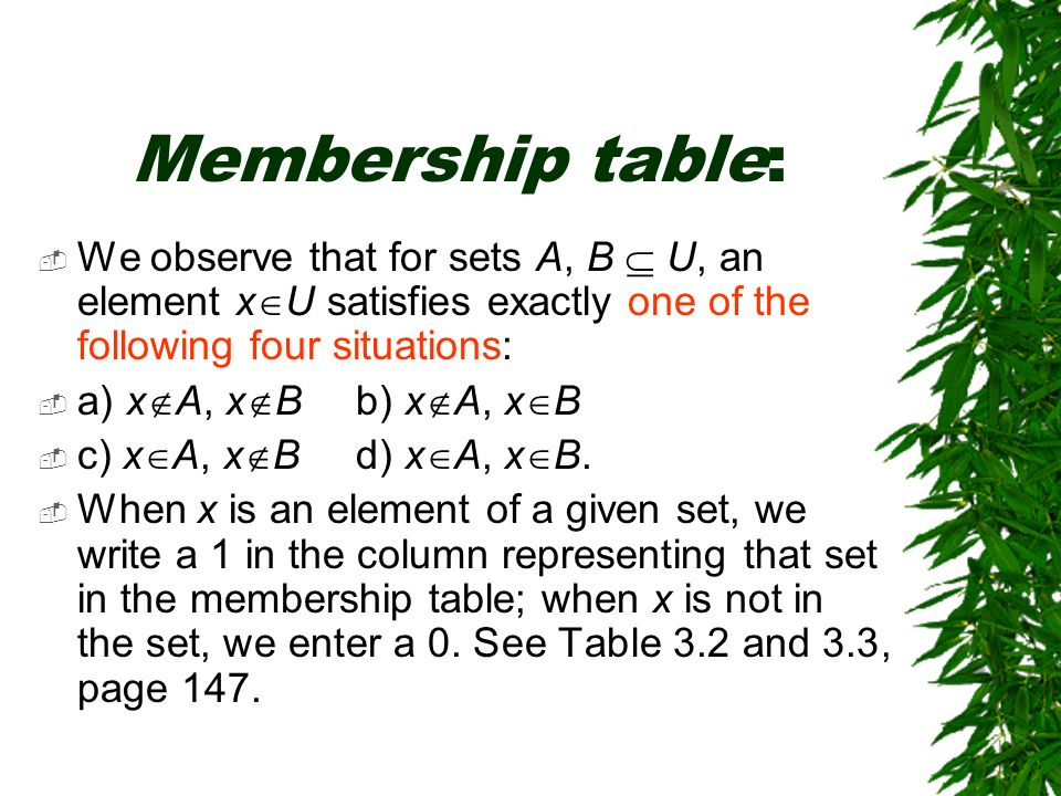 Membership table: We observe that for sets A, B  U, an element xU satisfies exactly one of the following four situations: