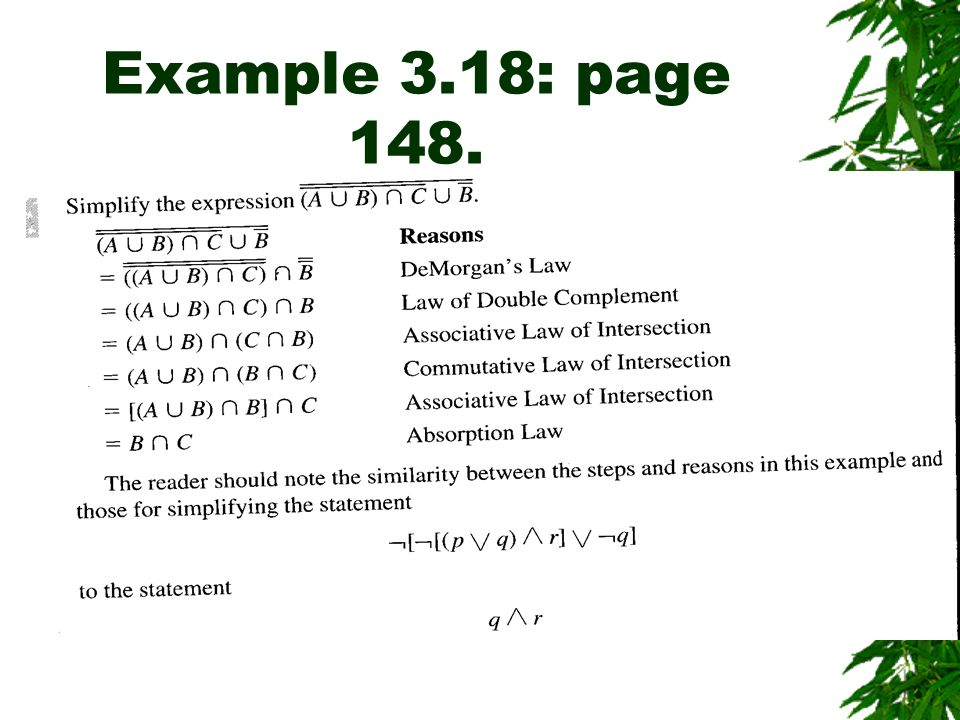 Example 3.18: page 148.