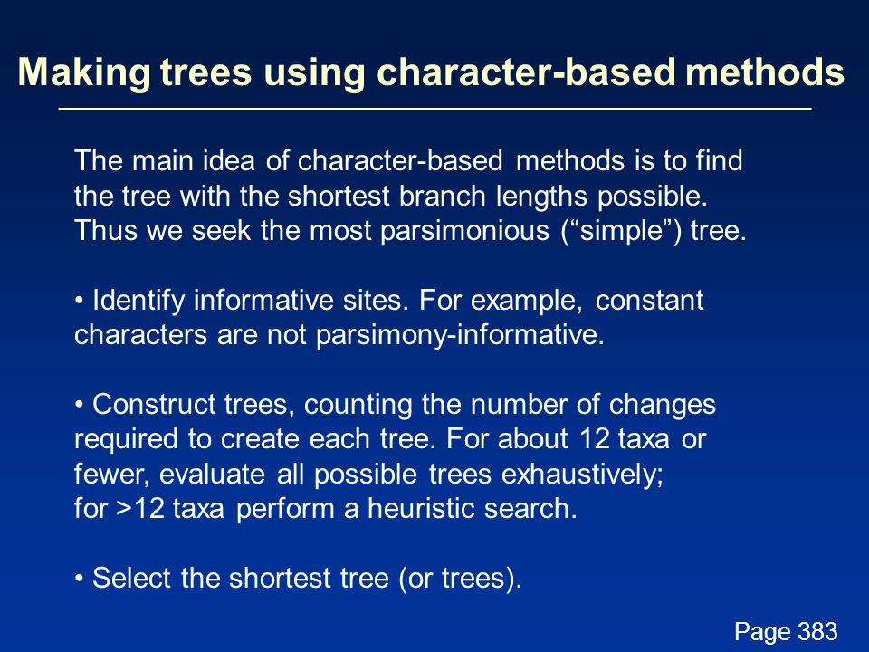 Making trees using character-based methods