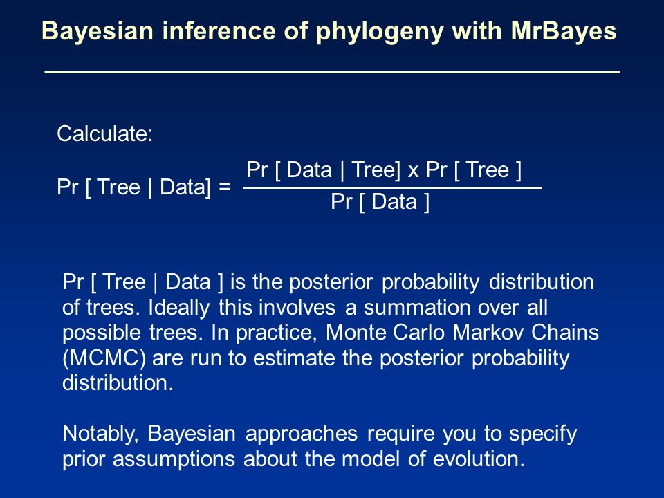 Bayesian inference of phylogeny with MrBayes