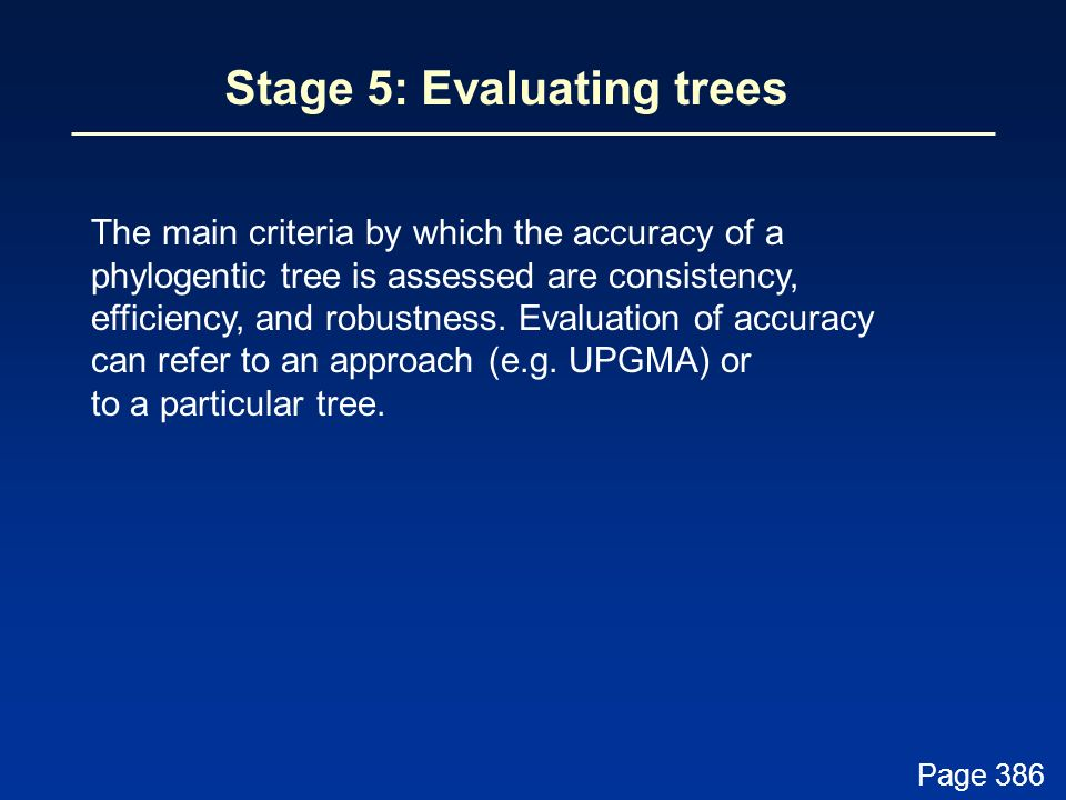 Stage 5: Evaluating trees