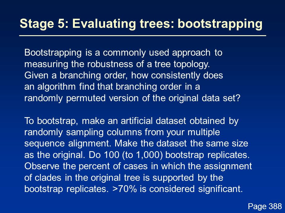 Stage 5: Evaluating trees: bootstrapping