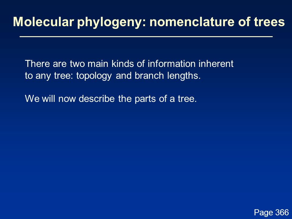 Molecular phylogeny: nomenclature of trees