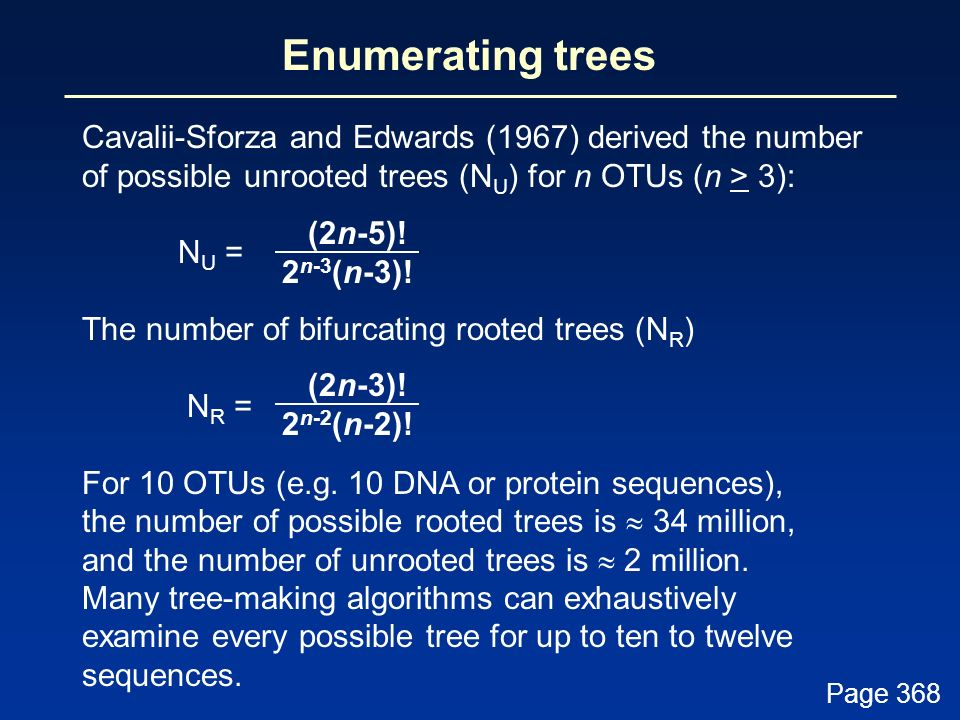 Enumerating trees Cavalii-Sforza and Edwards (1967) derived the number