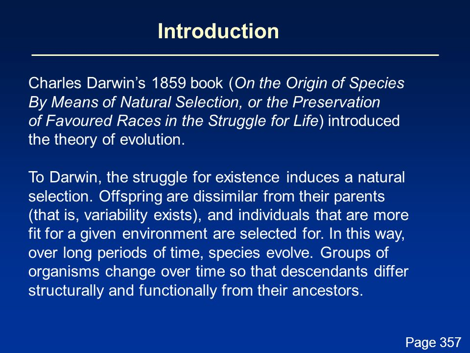 Introduction Charles Darwin's 1859 book (On the Origin of Species