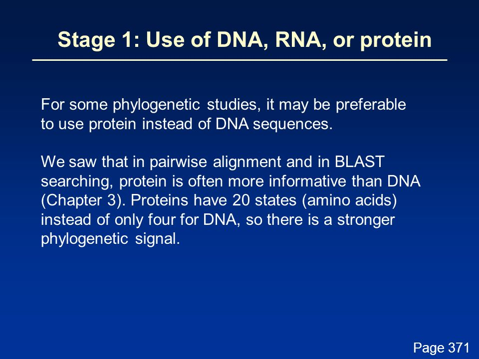 Stage 1: Use of DNA, RNA, or protein