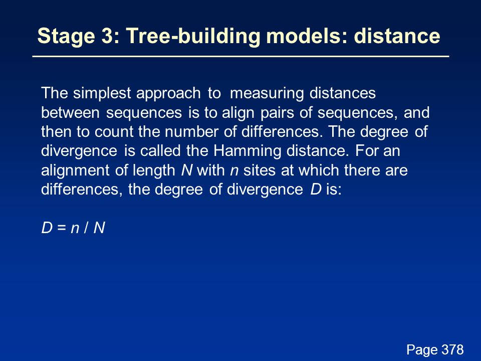Stage 3: Tree-building models: distance