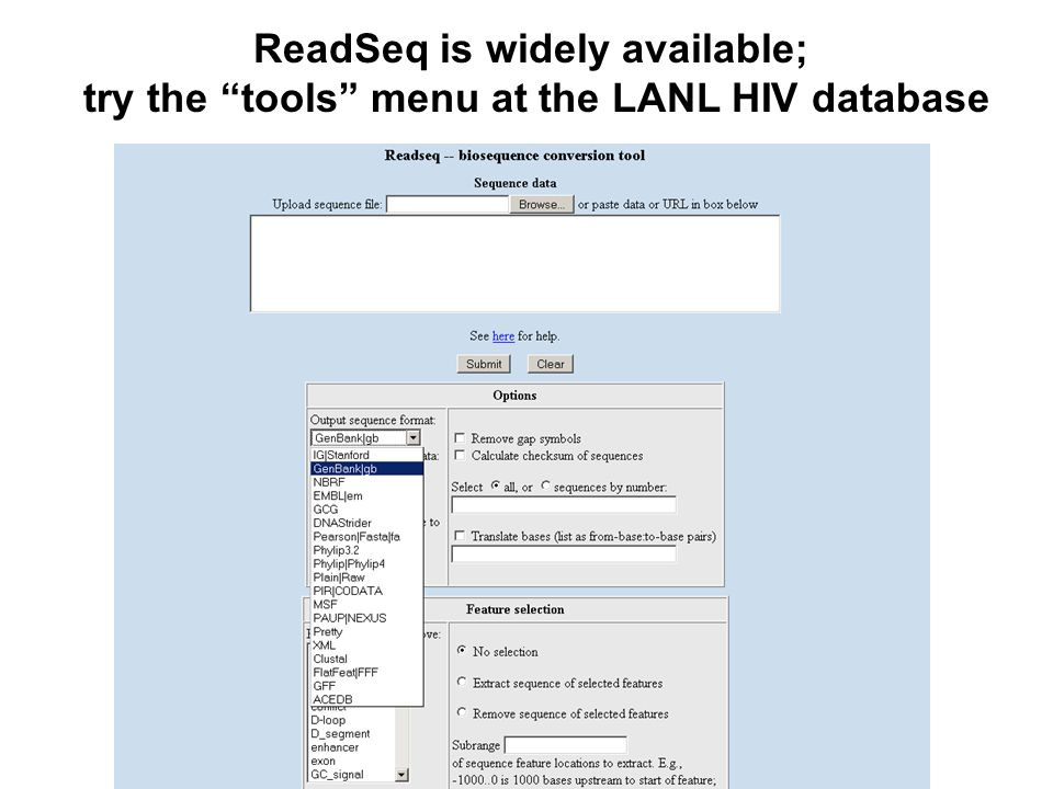 ReadSeq is widely available;
