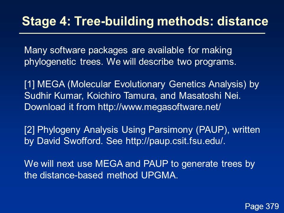 Stage 4: Tree-building methods: distance
