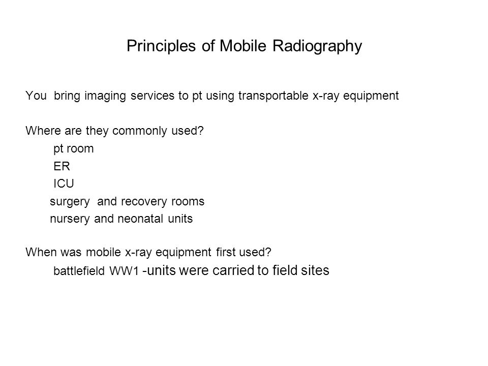 Principles of Mobile Radiography
