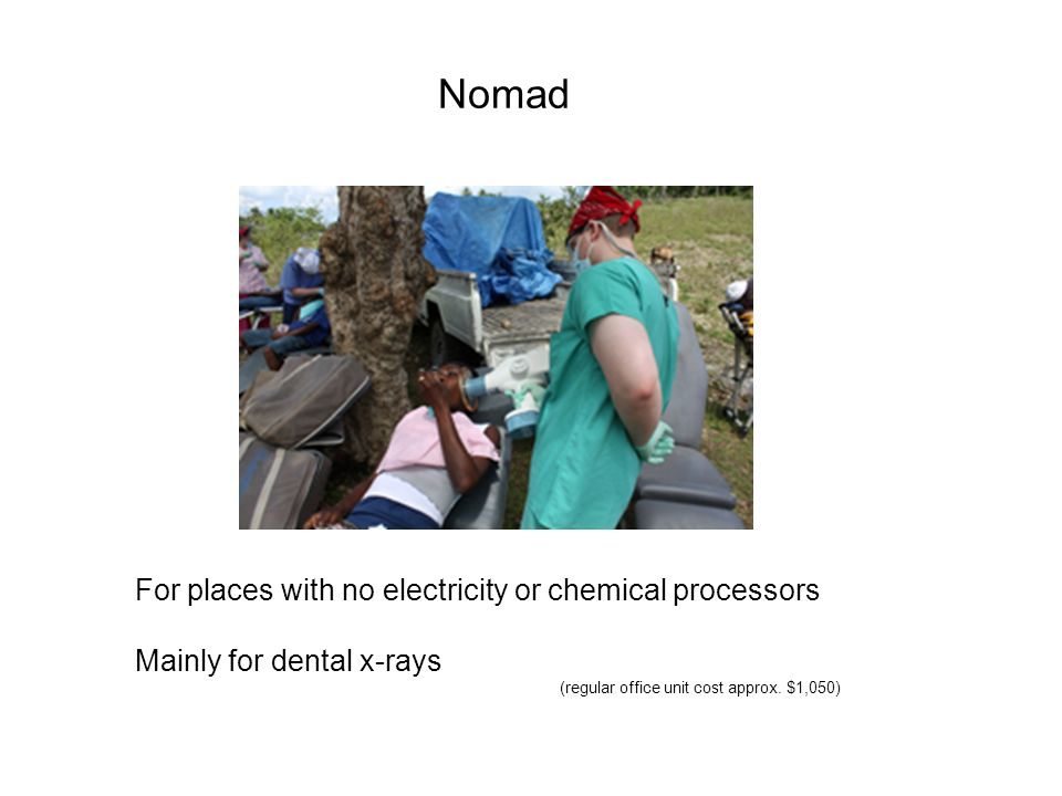 Nomad For places with no electricity or chemical processors