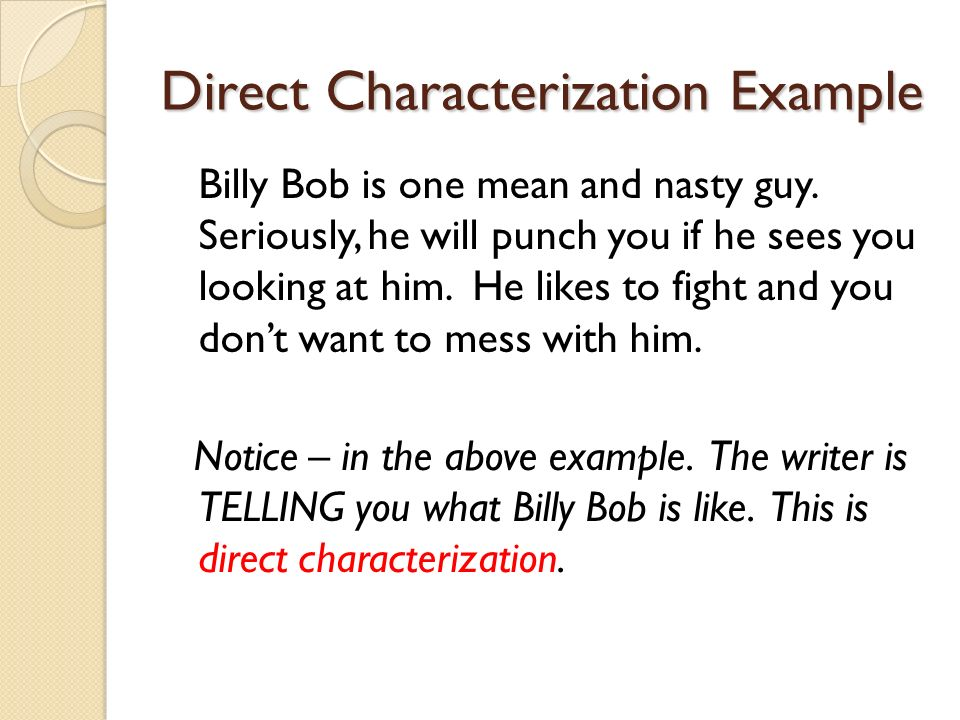 Direct Characterization Example