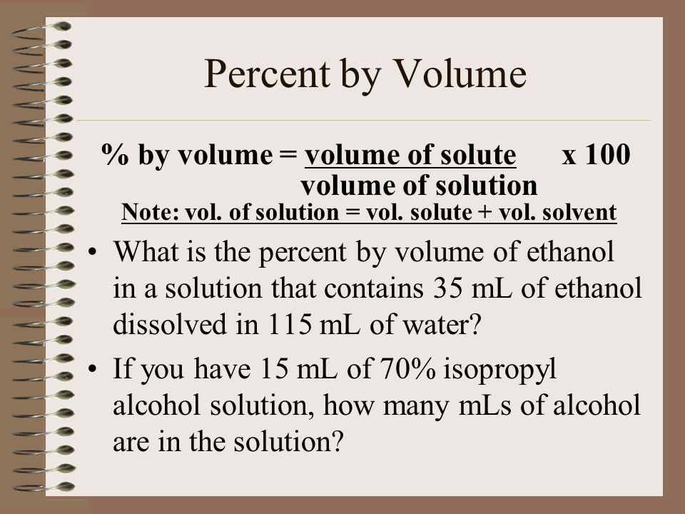 % by volume = volume of solute x 100