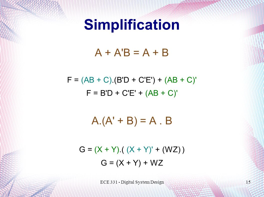 Simplification A + A B = A + B A.(A + B) = A . B