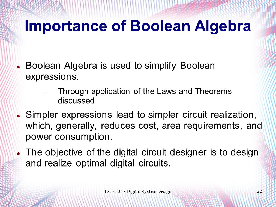Importance of Boolean Algebra