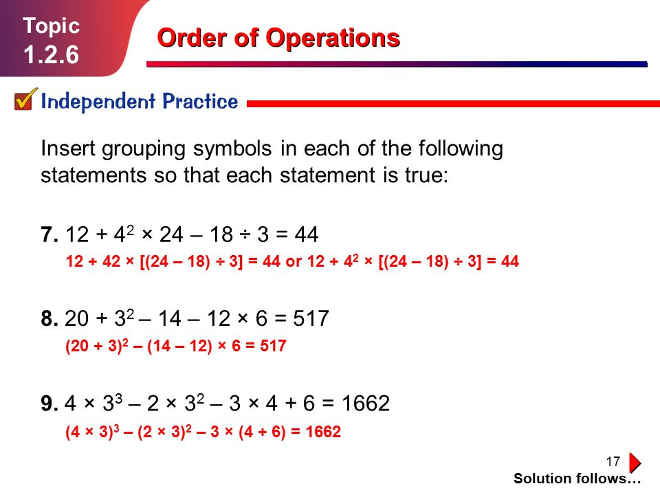 Order Of Operations Topic Ppt Video Online Download