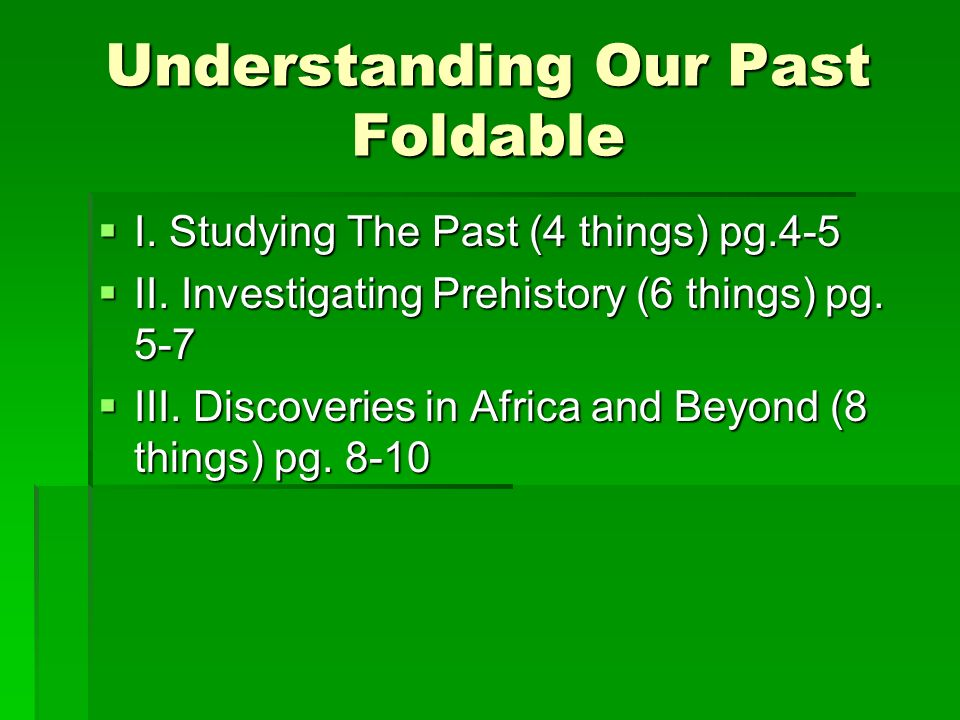 Understanding Our Past Foldable
