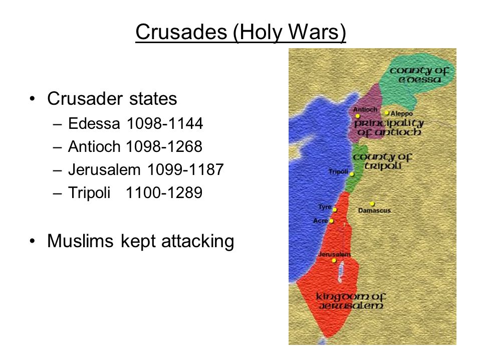 Crusades (Holy Wars) Crusader states Muslims kept attacking