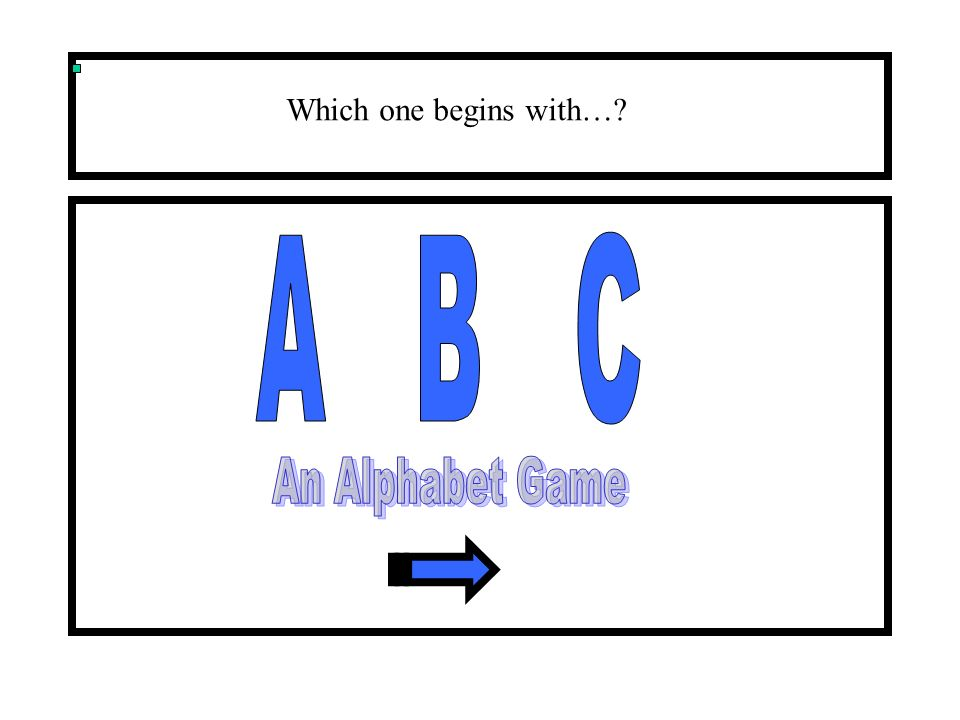 Which one begins with… A B C An Alphabet Game