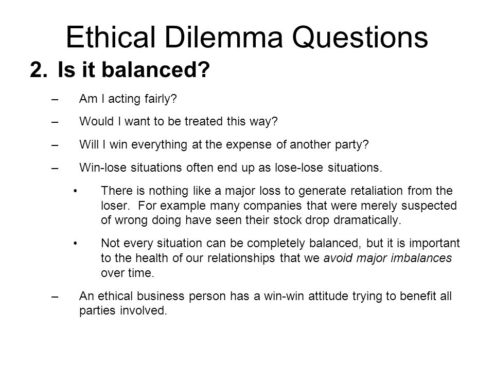 ethical dilemma questions