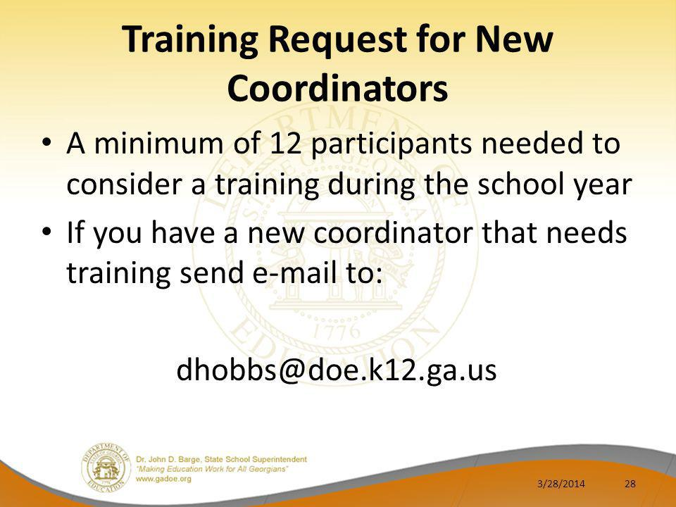 Training Request for New Coordinators