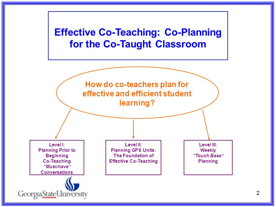 Effective Co-Teaching: Co-Planning for the Co-Taught Classroom