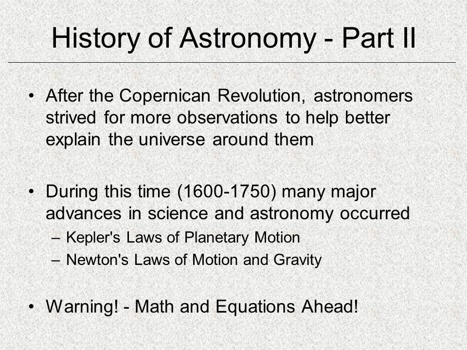 History of Astronomy - Part II