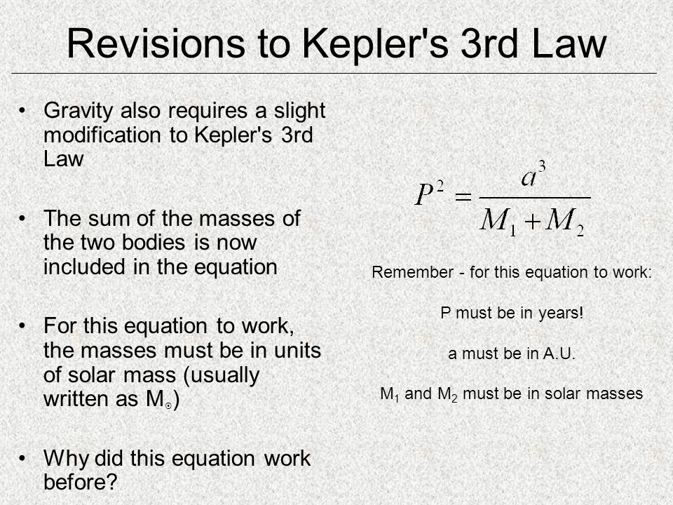 Revisions to Kepler s 3rd Law